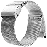 22mm Stainless Steel Milanese Loop Watch Band For ASUS Zenwatch 2 2015, WI501Q, 46mm moto 360 2nd 2015, Pebble time, TIME STEEL, Samsung Gear 2, Neo, Live, LG G Watch, Urbane R (Silver)