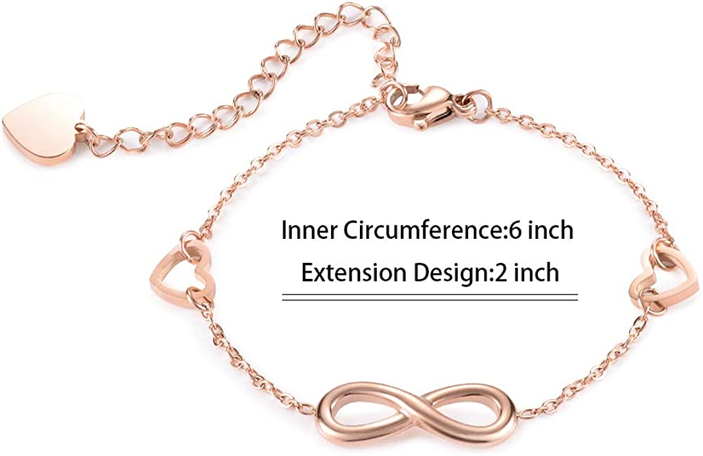 Seyaa Stainless Steel Infinity Bracelets Endless Love Symbol Charm Adjustable Link Bracelets for Women Girls,I Love You for Always and Forever Silver