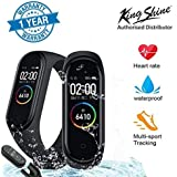 king shine M4 Band with Activity Tracker | Waterproof Technology | Pedometer | Heart Beat Sensor | Blood Pressure Monitor Compatible with Android and iOS Devices | Free Extra Band Strap