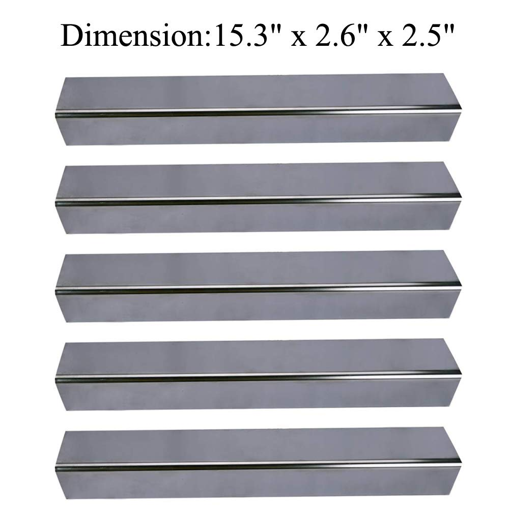 GasSaf 15.3 inch Stainless Steel Flavorizer Bar Repalcement for Weber Spirit 300 Series Gas Grill with Front-Mounted Control Panel (5-Pack) (15.3 x 2.6 x 2.5 inch) by GasSaf
