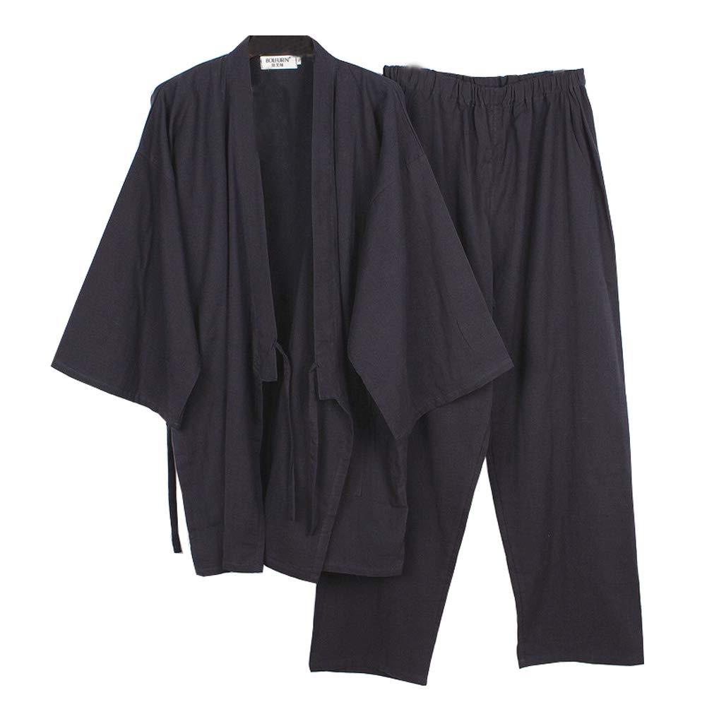 Fancy Pumpkin Japanese Style Men's Kimono Pajamas Big Size Dressing Gown Nightgown Size XL-01 CLO--1093-Size XL