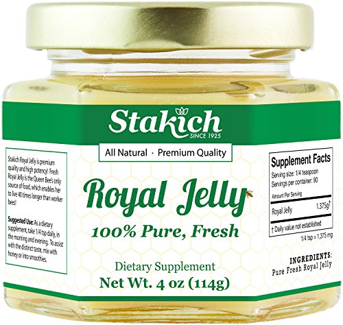 Stakich Fresh Royal Jelly - 100% Pure, All Natural, Highest Quality - No Additives/Flavors/Preservatives Added - 4 oz (114g)