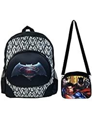 Batman vs Superman Black/White Backpack Large + Black Lunch Bag Combo