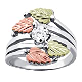 Landstroms Black Hills Silver Cubic Zirconia Ring with Gold leaves - MRLLR1685-101