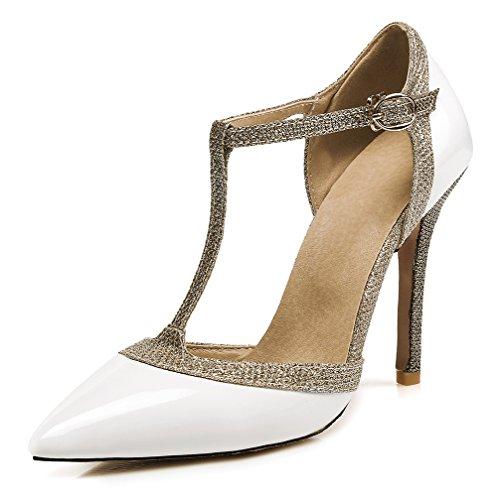 Glitzer Paillette T Aisun mit Spitz Spange Schnalle Weiß Stiletto Geschlossen Damen Sandale 57w7A