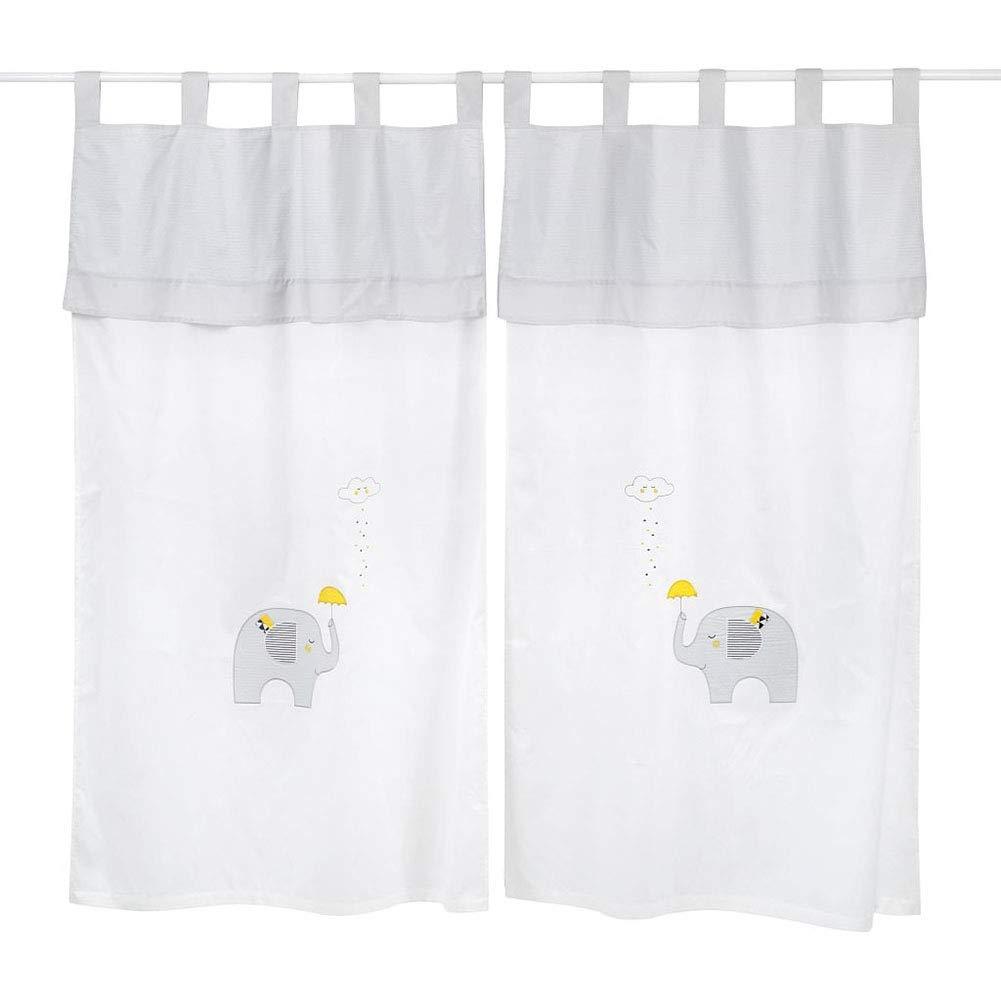 Gray and Yellow Elephant Crib Bedding Accessory - Window Curtain