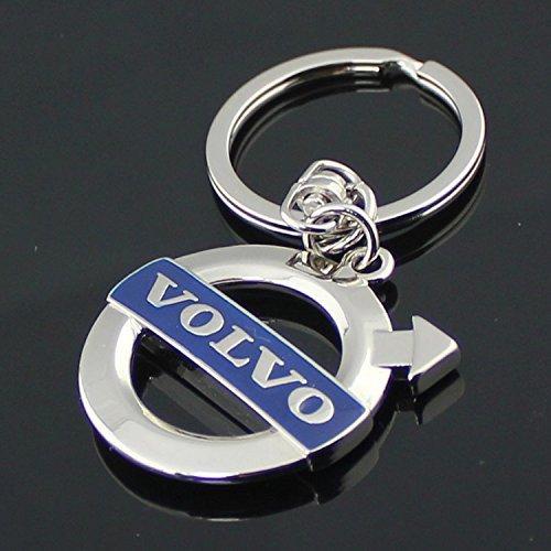 Volvo Blue Logo 3D Chrome Plated Key Chain Ring FOB Chrome Keychain Keychain Ring