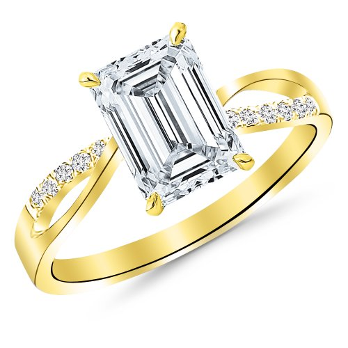 Yellow Gold Elegant Twisting Split Shank Diamond Engagement Ring with a 1 Carat Emerald Cut J Color VS1 Clarity Center Stone