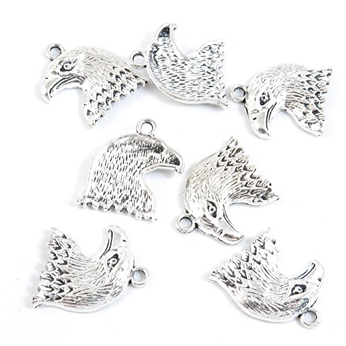 Qty 10 Pieces Antique Silver Tone Jewelry Making Supply Charms Findings S6GH4 Eagle Hawk Head