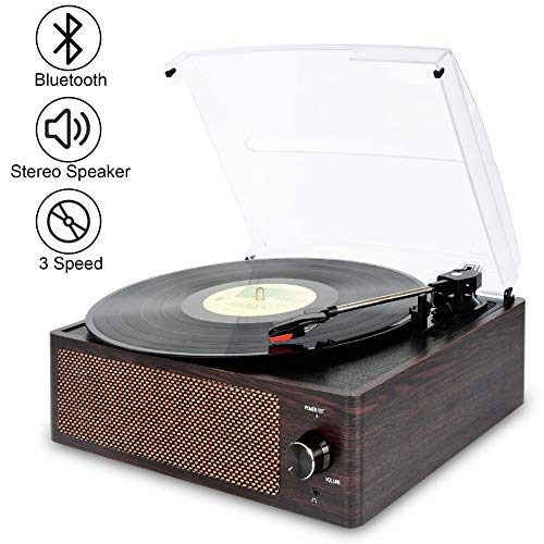 Bluetooth Record Player Belt-Driven 3-Speed Turntable, Vintage Vinyl Record Players Built-in Stereo Speakers, with Headphone Jack/ Aux Input/ RCA Line Out, Brown Wooden (Record Player Brown)