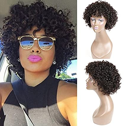 Amazon.com: UDU Short Curly Human Hair Wigs for Black Women, Brazilian Curly Bob None Lace Front Wig Cheap Wigs with Bangs Deep Curly Wigs (deep curly wig): ...
