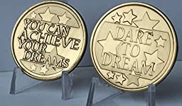 Dare To Dream You Can Achieve Your Dreams Bronze Medallion Set of 2 Challenge Tokens
