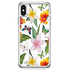 iPhone X Transparent Edge Phone Case Butterlfly Phone Case Floral Phone Case White Pattern