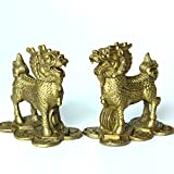 Handmade Brass Kylin/Qi Lin Statue Collectible Unicorn Figurines- Pair/2pcs