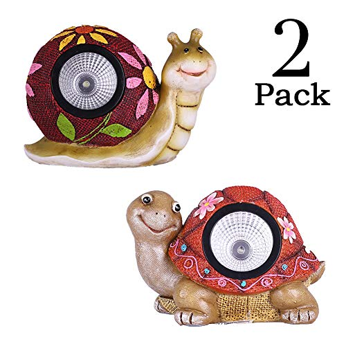 TERESA'S COLLECTIONS Snail and Turtle Garden Light Solar Statues, Figurine with Solar Powered Outdoor Decor for Spring Outdoor Decoration (Outdoor Paradise) (Solar Animals Lights Garden)