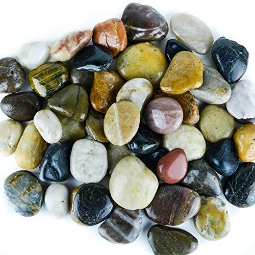 Galashield River Rocks Polished Pebbles Decorative Stones Natural Aquarium Gravel (5 lb ()