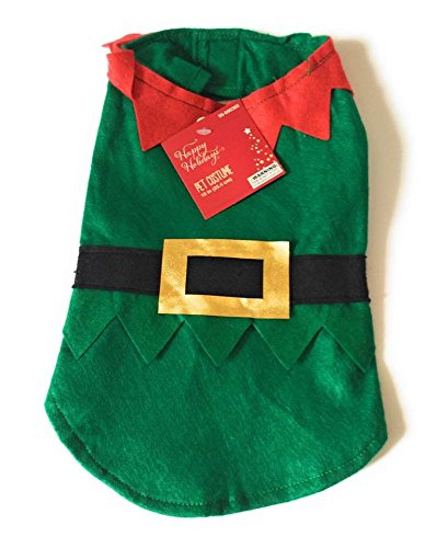 Happy Holiday Small Dog Elf Costume Christmas Collection Pet Costume with Hat (Animal Planet Raptor Dog Costume)