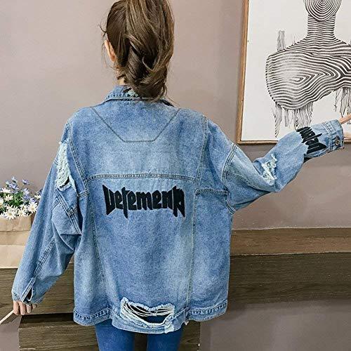 Jeans Giaccone Baggy Con Fibbia Digitale Stampate Primaverile Metallo Tasche Donna In Giacca Ragazze Jacket Ricamo Women Aspicture Moda Fidanzato Autunno Giovane Strappato 5qw7wvO