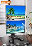 EZM Vertical Dual LCD Monitor Mount Stand Freestanding with Grommet Mount Option up to 27'' (002-0014)