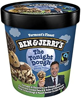 product image for Ben & Jerry's - Vermont's Finest Ice Cream, Non-GMO - Fairtrade - Cage-Free Eggs - Caring Dairy - Responsibly Sourced Packaging, The Tonight Dough, Pint (4 Count)