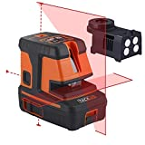 Tacklife SC-L06 3-Point Alignment Laser Level Self Leveling with Horizontal/Vertical Line and Cross-Line -- Enhanced Strong Magnetic Base, Soft Carrying Pouch, Batteries Included