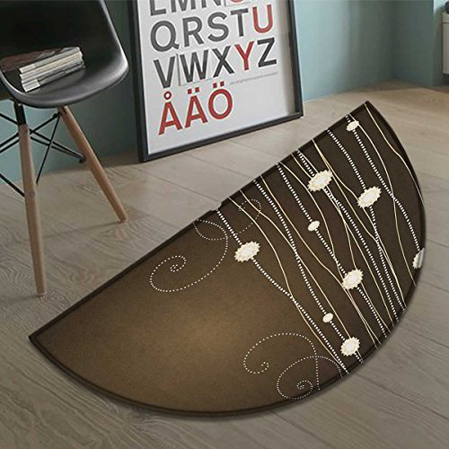 Chocolate Bath Mat non slip Abstract Flowers with Dotted Lines Vintage Inspirations in Romantic Composition Customize door mats for home Mat Beige Brown - Inspirations Multi Rug Lines
