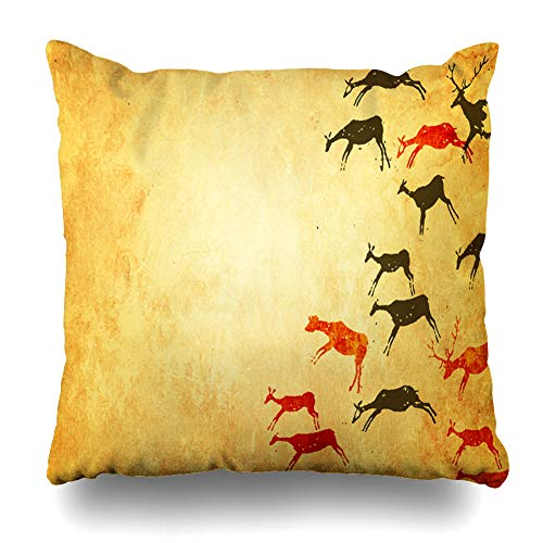 - NOWCustom Throw Pillow Cover Material Cave Drawings Primitive Person Neanderthal Painting Hunting Prehistoric Evolution Era Human Zippered Pillowcase Square Size 20 x 20 Inches Home Decor Pillow Case