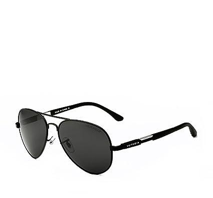 VEITHDIA Polarisierte Sonnenbrille, Aviator Pilotenbrille mit Federscharnier, Etui und Putztuch, Unisex 6695 (Gold)