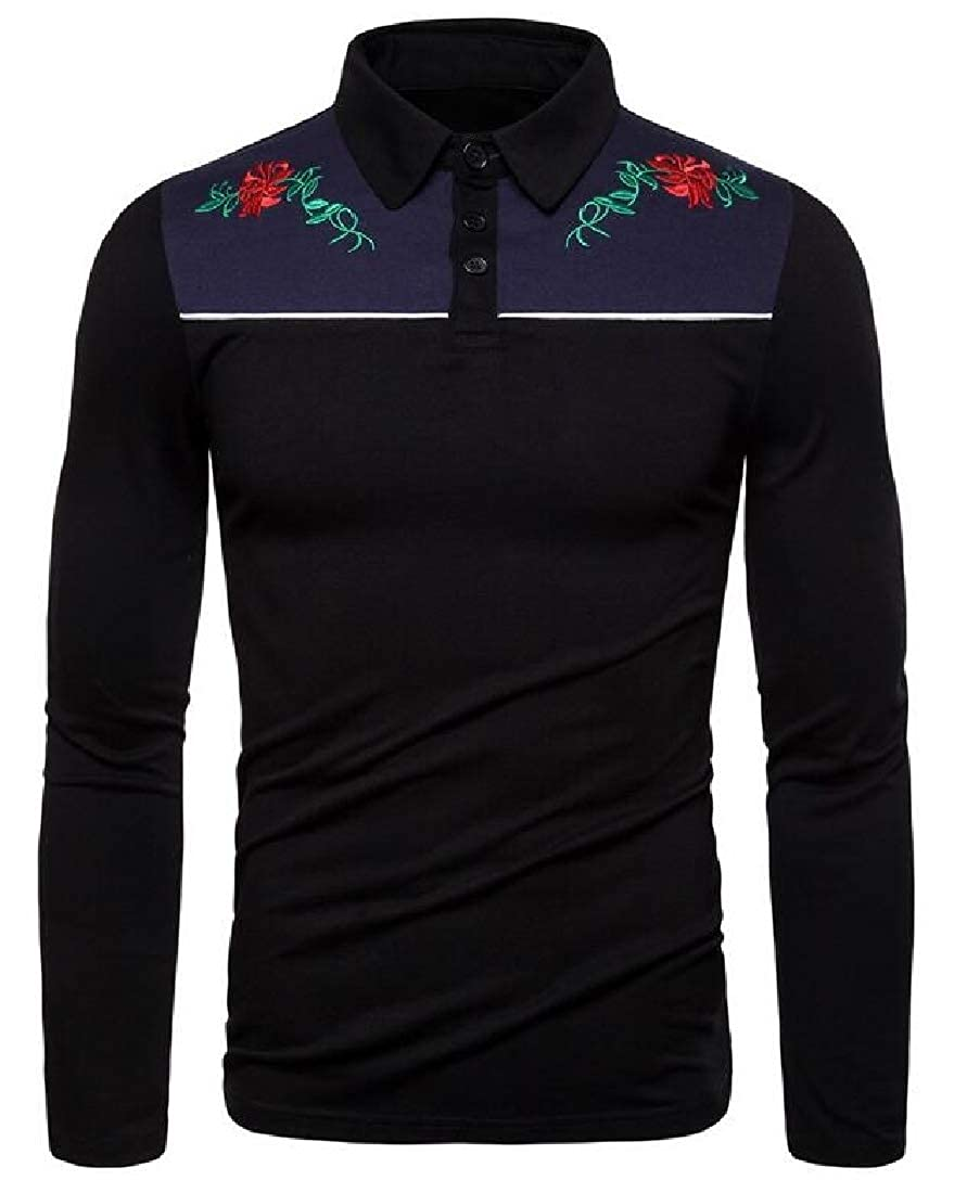 YYear Mens T-Shirt Lapel Slim Fit Cotton Long Sleeve Embroidery T-Shirt Tee
