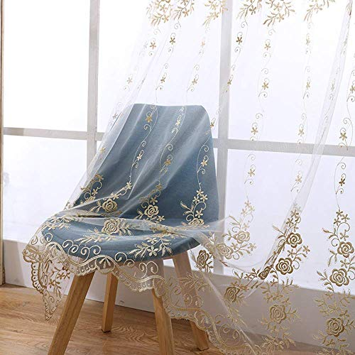 AiFish Rose Floral Embroidered Sheer Curtain 72 inch Long Transparent Elegant Rod Pocket Tulle European Gauze Customized Golden Voile Window Curtain Drape Panel for Sliding Glass Door 1 Piece