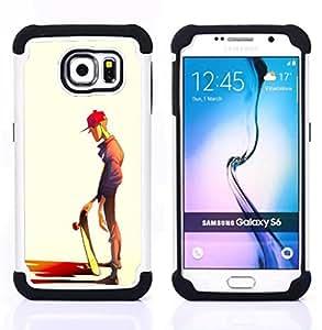 BullDog Case - FOR/Samsung Galaxy S6 G9200 / - / SKATEBOARD DUDE ART STREET STYLE BOY HAT /- H??brido Heavy Duty caja del tel??fono protector din??mico - silicona suave