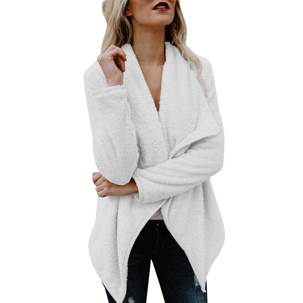 GREFER Womens Tops, Casual Suit Long Sleeve Woolen Open Front Sweater Coat Jacket Cardigan White by GREFER