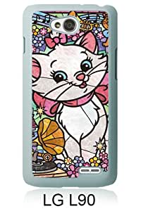 Popular LG L90 Case ,Lovely Marie Cat Stained Glass white LG L90 Cover Beautiful And Durable Designed Case
