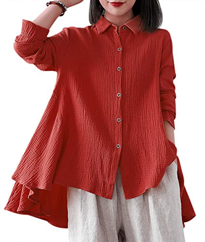 YESNO Women Casual Long Sleeve Button Down Shirt Blouse Double Cotton Elastic Flare Cuff Turn Down Collar High-Low Swing Skirt Hem EJE (L, Wine Red)