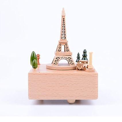 XZZ Madera Caja de música París Torre Music Box hogar Creativo Regalo Adornos Navidad decoración Madera