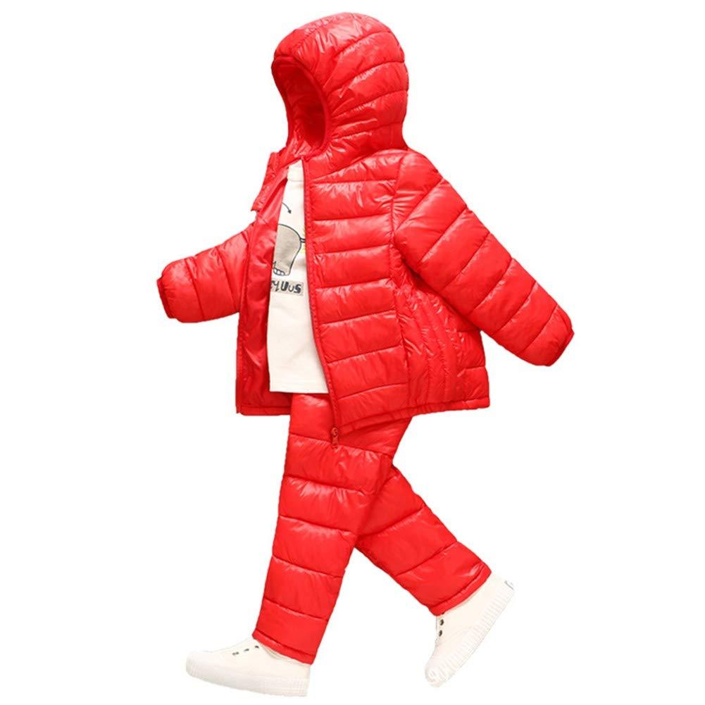 rouge 90cm YZ-HODC Enfants Manteau + Pantalon Hiver Unisexe Doudoune épaissir à Capuche Outwear Couleur Unie Chaud Coupe-Vent Deux-pièces Costume