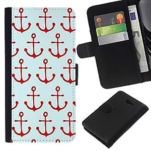EJOY---La carpeta del tirón la caja de cuero de alta calidad de la PU Caso protector / Sony Xperia M2 / --Patrón de Navegación Rojo Mar Marinero Barco