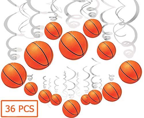 36Ct Basketball Hanging Swirl Decorations - Basketball Themed Party Decorations, Boy Birthday Party Supplies]()
