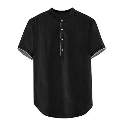 Canserin Mens Summer Cotton Linen Short Sleeve Golf Shirts Loose Fit Workout Casual Beach Henley Shirt: Clothing