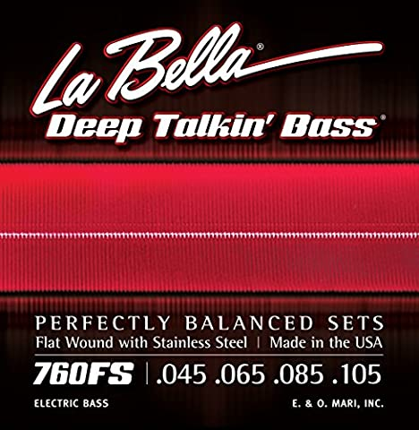 LaBella 760FS Stainless Steel Bass Guitar Strings, Medium (Flat Bass Guitar Strings)
