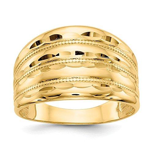 Mia Diamonds 14k Solid Yellow Gold Gold Polished Diamond-Cut Four Ridge Fashion Dome Ring