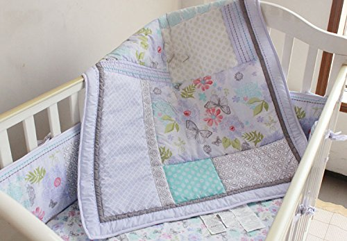 Nursery Crib Quilted Comforter 1 PC Baby Girl Baby Boy Crib Quilt/Comforter Baby Gift Idea (Purple Butterfly)