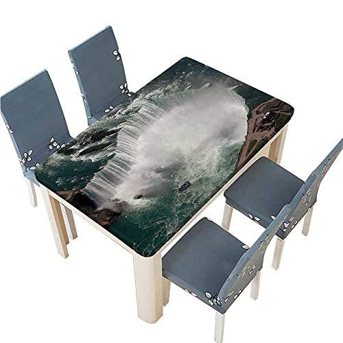 PINAFORE Table in Washable Polyeste Niagara Falls Banquet Wedding Party Restaurant Tablecloth W45 x L84.5 INCH (Elastic Edge)]()