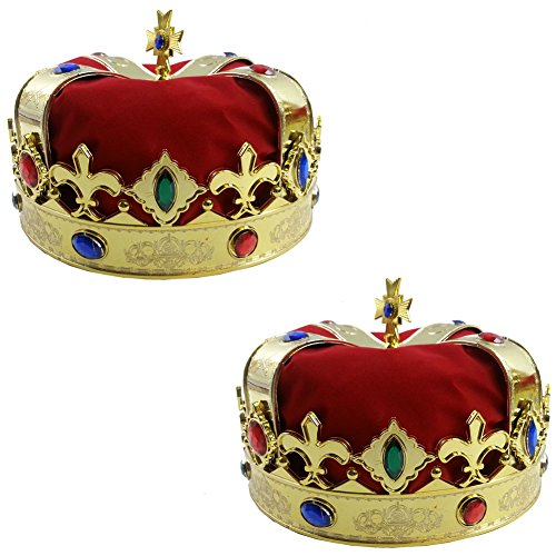 King Crown for Kids - Dress up Hats - Gold King Crown - 2 Pack - King Costume by Funy Party -