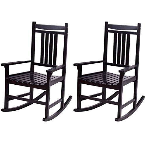 Giantex Set of 2 Wood Rocking Chair Outdoor Indoor Patio Porch Rocker for Porch, Patio, Living Room, Black (Rocking Black Outdoor Chairs)