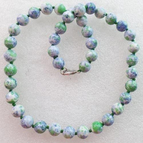 10mm Rain Rainbow Jasper Round Ball Necklace 17.5 inch XLZ-360 ()