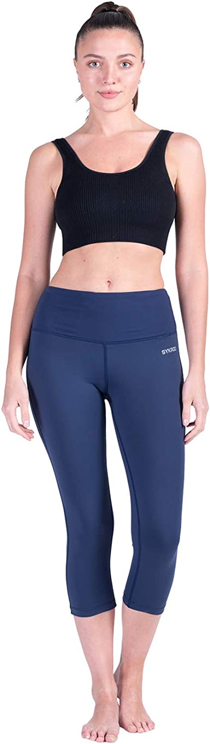 SYKROO Womens 20 28 High Waisted Yoga Leggings Athletic Running Workout Capri Tummy Control Pants with Inner Pocket