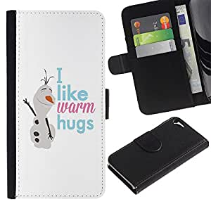 KLONGSHOP / Tirón de la caja Cartera de cuero con ranuras para tarjetas - Snowman Text Winter Snow White - Apple iPhone 5 / 5S