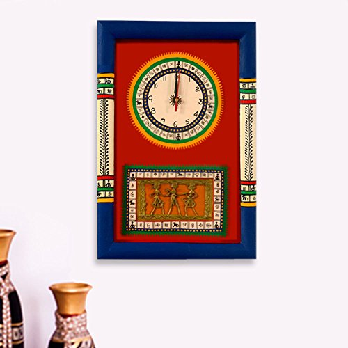 ExclusiveLane Warli Handpainted & Dhokra Work Wall Clock 1510 Inch In Red - Wall Hanging Wall Decorative item (Home Decorative Items Online Shopping)