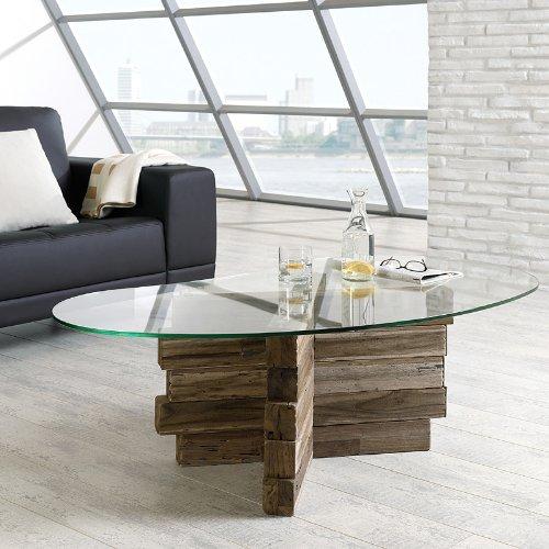Design Glas - Couchtisch »BALKAT« aus Teak-Altholz Balken